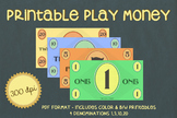Printable PLAY MONEY (Color & B&W)