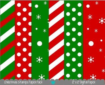 Printable Paper - Christmas Stamps Digital Paper Pack