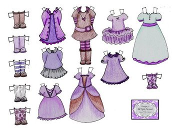 Printable Paper Doll - Dress me up in Purple!