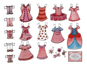 Printable Paper Doll - Dress me up in Red!