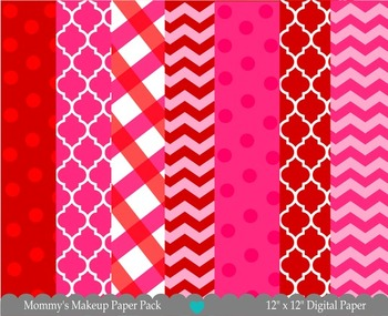 Printable Paper - Mommy's Makeup Digital Paper Pack - Valentine Papers
