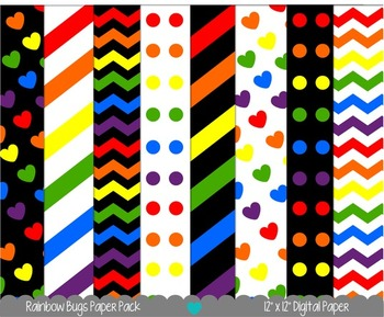 Printable Paper - Rainbow Bugs Digital Paper Pack
