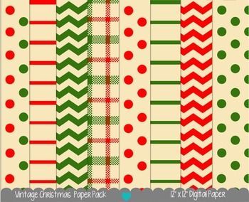Printable Paper - Vintage Christmas Digital Paper Pack