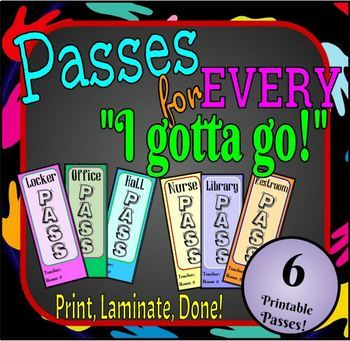 Printable Passes for All Classrooms