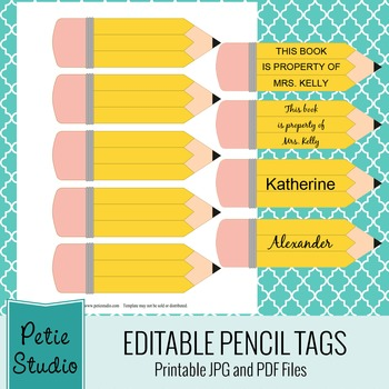 Printable Pencil Tags Editable PDFs