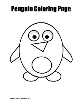 Printable Penguin Coloring Page Worksheet by Lesson ...