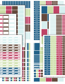 Printable Personal Planner with Sticker Sheets - Chevron - Color Theme #F1-001