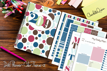 Printable Personal Planner with Sticker Sheets - Dots - Color Theme #F1-001