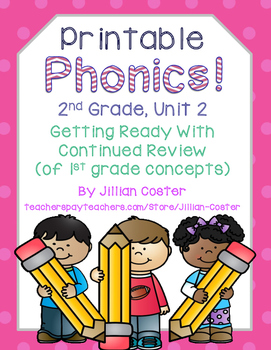 Printable Phonics 2nd Grade! Unit 2, Bonus Letter and Gluded Sound Review