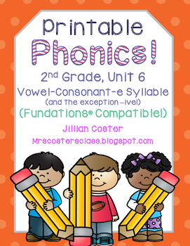 Printable Phonics 2nd Grade! Unit 6, Vowel-Consonant-e Syllable!