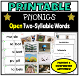 Printable Phonics Activities for Open Two-Syllable  Words