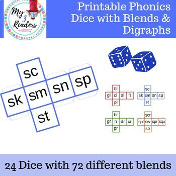 Printable Phonics Dice for Games with Blends and Digraphs
