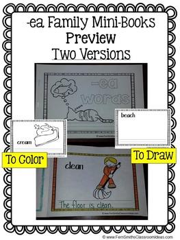 -ea Word Family Quick and Easy to Prep Printable Phonics Reading Mini-Books