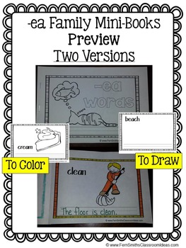 ea Word Family Quick and Easy to Prep Printable Phonics Reading Mini-Books
