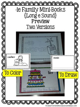 -ie as long e Word Family Quick and Easy to Prep Printable Reading Mini-Books