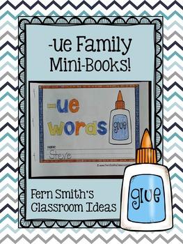ue Word Family Quick and Easy to Prep Printable Phonics Reading Mini-Books