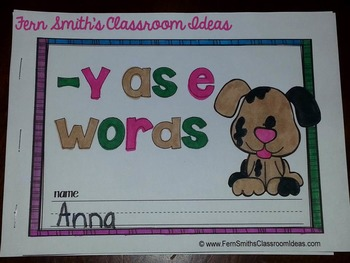 -y as Long e Word Family Quick and Easy to Prep Printable Phonics Mini-Books