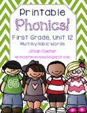 Printable Phonics Pack! 1st Grade, Unit 12, Multisyllabic Words!