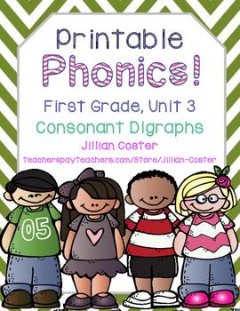 Printable Phonics Pack! 1st Grade Unit 3 Consonant Digraphs! Sh, Ch, Wh, Th, Ck!
