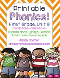 Printable Phonics Pack! 1st Grade, Unit 8, Consonant and Digraph BLENDS!