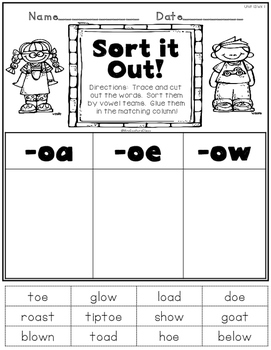 Printable Phonics Pack! 2nd Grade, Unit 13, Vowel Teams! oa, oe, and ow!