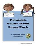 Sound and Phonics Work- 105 Printable Worksheets for K and