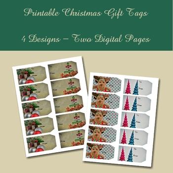 Printable Photo Christmas Gift Tags