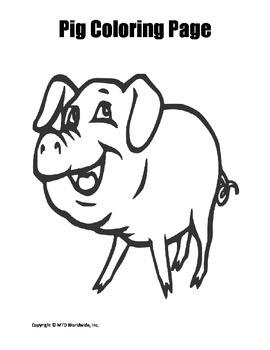 Printable Pig Coloring Page Worksheet