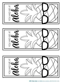 Bookmarks to Color: Pineapple
