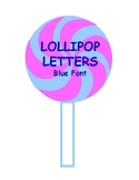 Printable Pink & Blue Swirl Lollipop Blue Letters