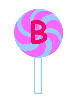 Printable Pink & Blue Swirl Lollipop Pink Letters