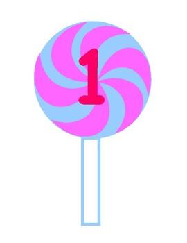 Printable Pink & Blue Swirl Lollipop Pink Numbers