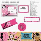 Printable Pink Sakura Classroom Resources Set