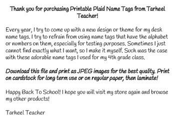 Printable Plaid Name Tags