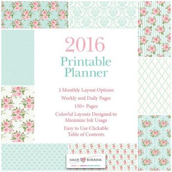 Printable Planner - 2016 - Pink Roses