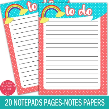 Printable Planner Notepads-To Do Lists-Notes Papers-Sheets