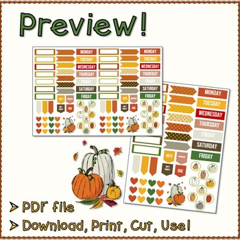 Printable Planner Stickers - Fall Pumpkins Themed