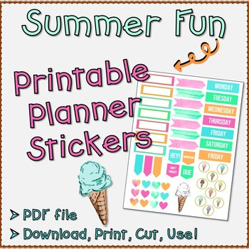 Printable Planner Stickers - Summer / Ice Cream Themed