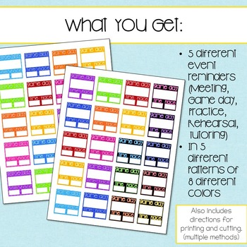 Printable Planner stickers for After School Reminders