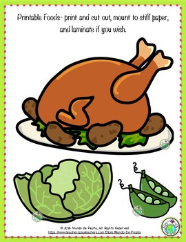 Printable Play Food for Foreign Language, ELL or Imaginative Play