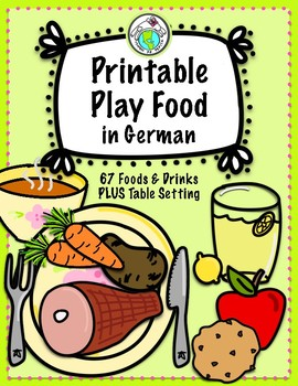 Printable Play Food in German Set of 67 Foods, Drinks & Table Setting