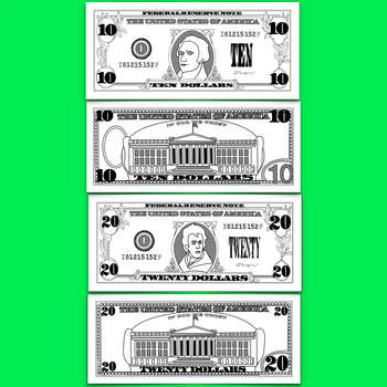 Dollar Bill Clip Art, $1 $5 $10 $20 $50 & $100