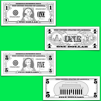 Dollar Clipart Fronts And Backs $1 $5 $10 $20 $50 & $100