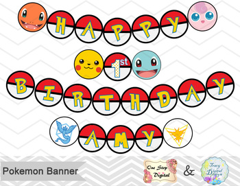 graphic regarding Printable Pokemon referred to as Printable Pokemon Banner, Pokemon Birthday Celebration Banner, Pokemon Bunting
