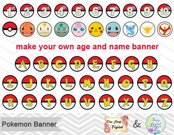 picture relating to Free Printable Pokemon named Printable Pokemon Banner, Pokemon Birthday Occasion Banner, Pokemon Bunting