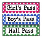 Printable Polka Dot Hall Passes