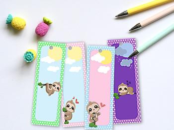 Printable Polka Dot Sloth Bookmarks
