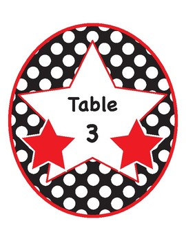 Printable Polkadot Table Numbers