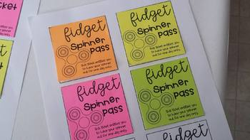 "Printable Post It / Sticky Note ""Fidget Tickets""Incentive for students! Editable"