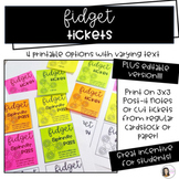 """Printable Post It / Sticky Note """"Fidget Tickets""""Incentive"""
